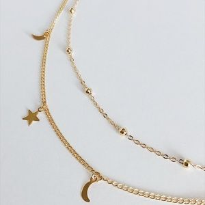 9a064cef0 Jewelry - Gold or Silver 2 Layer Crescent Star Choker